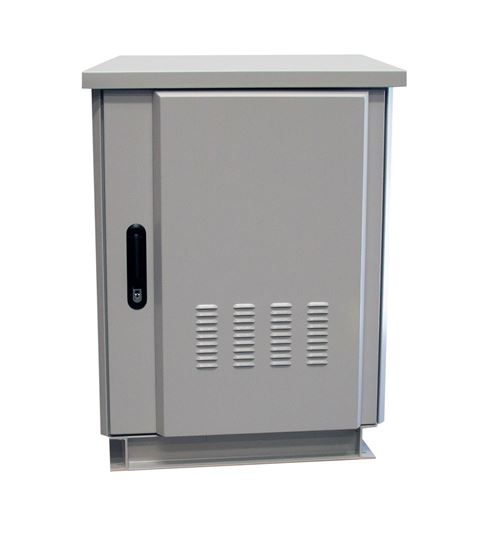 Picture of ROD18-8X6GY: DYNAMIX 18RU Outdoor Freestanding Cabinet. (800 x 600 x 975mm external). IP45 rated. Angled pivoting rain hood. Double 25mm heating protection. Includes 10x cage nuts. Grey