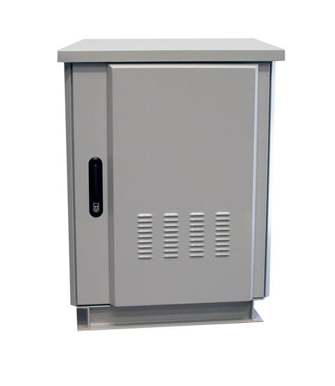 Picture of ROD27-8X6GY: DYNAMIX 27RU Outdoor Freestanding Cabinet. (800 x 600 x 1575mm external). IP45 rated. Angled pivoting rain hood. Double 25mm heating protection. Includes 10x cage nuts. Grey