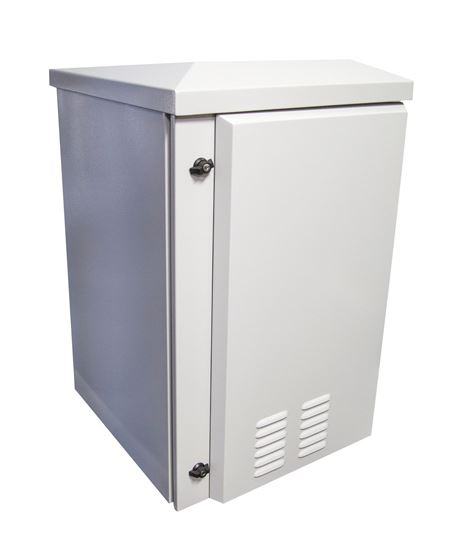Picture of RODW18-400FK: DYNAMIX 18RU Vented Outdoor Wall Mount Cabinet. (611 x 425 x 915mm). IP45 rated. Lockable front door. Supplied with dual extractor fans, and input/output air filters. Made from rolled steel. Grey