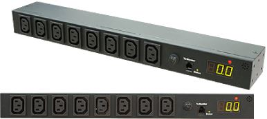 Picture of RPME-16A8: DYNAMIX 8 Port 16A Metered PDU. Power Monitoring by True RMS Meter Output: 8x 10A IEC C13, Input: 1x 16A IEC C20, 3m attached power cord.