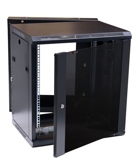 Picture of RSFDSL9: DYNAMIX LITE 9RU Swing Wall Mount Cabinet. Right hand mounted. The LITE version excludes fixed shelves and fans. Includes 10x cage nuts. Gloss black colour.