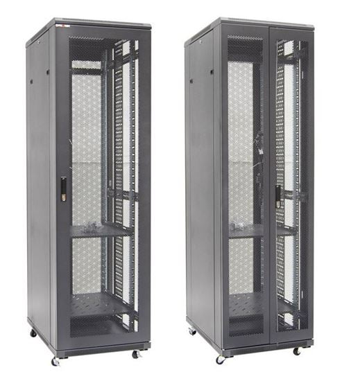 Picture of RSME42610: DYNAMIX 42RU Server Cabinet 1000mm Deep Front Mesh Door, Rear mesh Double Doors, 2x 150mm Vertical Cable Trays 2x Fixed Shelves, 2x 6- distribution unit, bolt down kit,