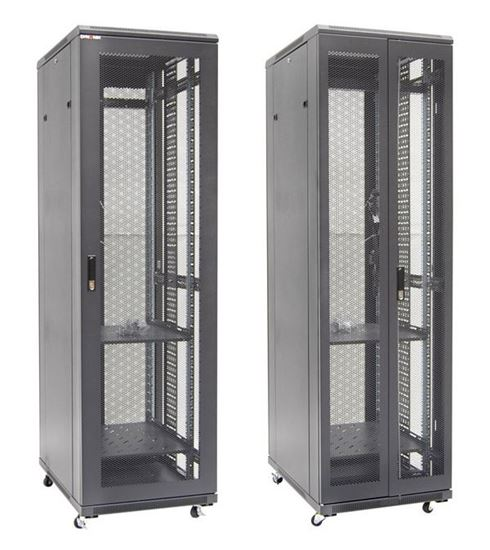 Picture of RSME4268: DYNAMIX 42RU Server Cabinet 800mm Deep Front Mesh Door, Rear Mesh Double Doors, 2x 150mm Vertical Cable Trays 2x Fixed Shelves, 2x 6- distribution unit, bolt down kit, 25x cage nuts & 4x castors
