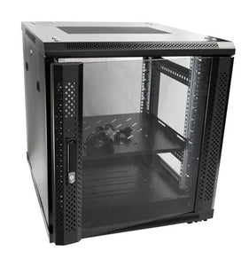 Picture of RSR12-6X7: DYNAMIX 12RU Server Cabinet 700mm deep (600 x 700 x 743mm). Incl. 1x Fixed Shelf, 4x Fans, 25x Cage Nuts, 4x Castors & 4x Level Feet. static load. Glass front door, mesh rear door. Black
