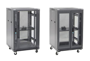 Picture of RSR18-6X6: DYNAMIX 18RU Server Cabinet 600mm Deep (600 x 600 x1008mm). Incl. 1x Fixed Shelf, 4x Fans, 25x Cage Nuts, 4x Castors & 4x Level Feet. static load. Glass front door, mesh rear door. Black