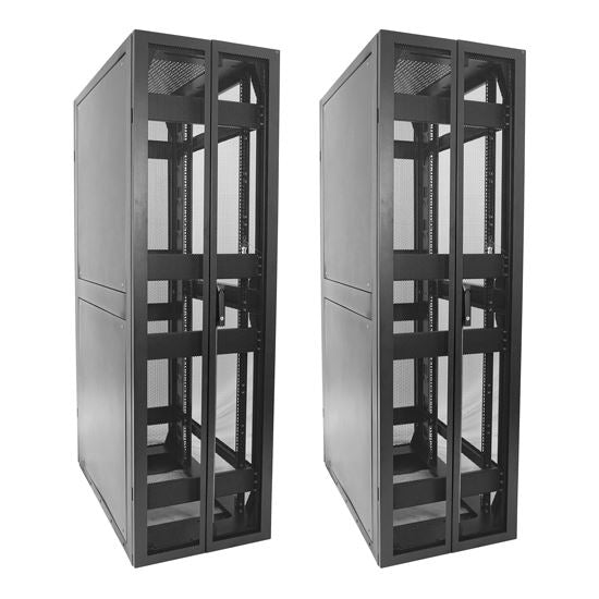 Picture of RSS42-6X8: DYNAMIX 42RU Seismic Cabinet 800mm deep (600 x 800 x 2000mm) Fully welded. Dual pantry style Front/Rear mesh doors. Telcordia Issue 4 Standard. Includes 25x cage nuts. Black Colour.