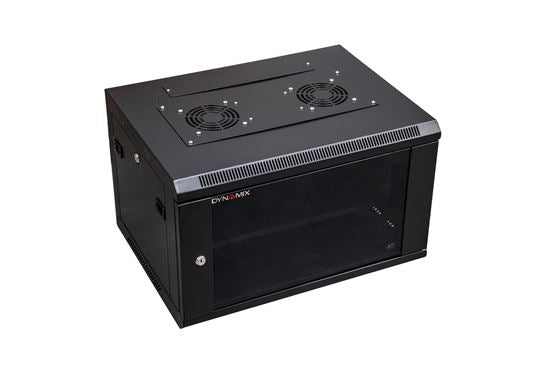 Picture of RWM6: DYNAMIX 6RU Wall Mount Cabinet 450mm Deep (600 x 450 x 368mm). Includes 1x Fixed Shelf, 2x Fans & 10x Cage Nuts. Black Gloss Colour, front door.