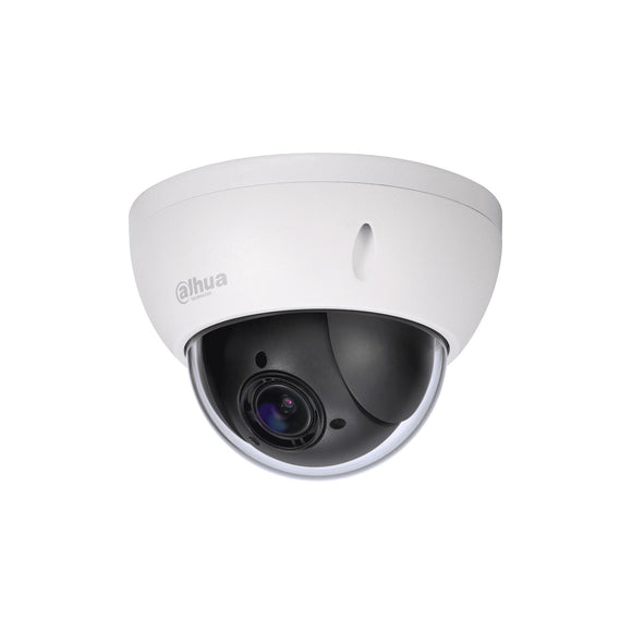Picture of SD22204T-GN: DAHUA 2M PTZ IP Dome Camera. 25/30fps@1080P. H.264/MJPEG Triple- stream encoding. Max: 100/sec pan speed. Max pre-sets: 300, 5x autoscan, 8x tour, 5x pattern. PoE.