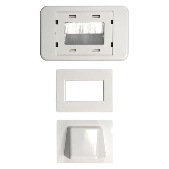 Picture of WP-BULLNOSE: DYNAMIX Combination Flush & Bullnose Cable Management Wall Plate With Brush. White Colour