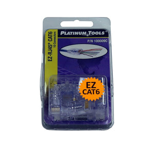 Picture of 100009C: PLATINUM TOOLS Cat6 EZ-RJ45 Plug. Easy install RJ45 plug for Cat6 solid or stranded cable. One piece design. 10x  clamshell.