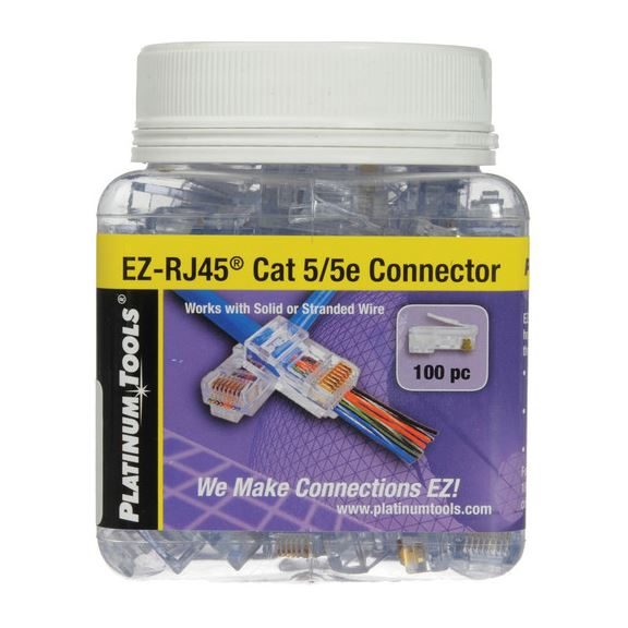 Picture of 202003J: PLATINUM TOOLS Cat5e EZ-RJ45 Plug. Easy install RJ45 plug for Cat5e solid or stranded cable. One piece design. 100pc jar.