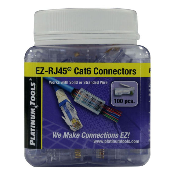 Picture of 202010J: PLATINUM TOOLS Cat6 EZ-RJ45 Plug. Easy install RJ45 plug for Cat6 solid or stranded cable. One piece design. 100pc jar.