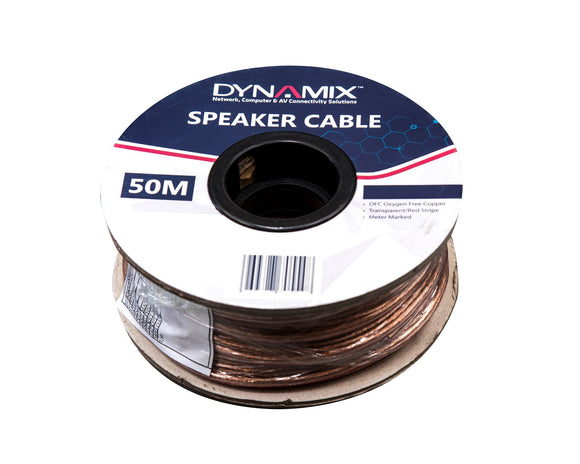 Picture of CA-SPK14-50: DYNAMIX 50m 14AWG/2.08mm Speaker Cable, OFC 51/025BCx2C, Clear PVC Insulation, OD: 4.0x 8.0mm. Meter Marked