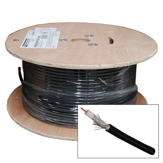 Picture of C-RG6-100-BK: DYNAMIX 100m Roll RG6 Shielded Cable. Black. 75ohm. 18AWG solid core. Foil and braid shield.