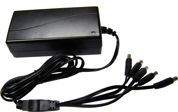 Picture of CCTVPSU12VSPLIT: DYNAMIX 12V DC 5A CCTV Power Supply with 4-Way splitter. Regulated Switch Mode.