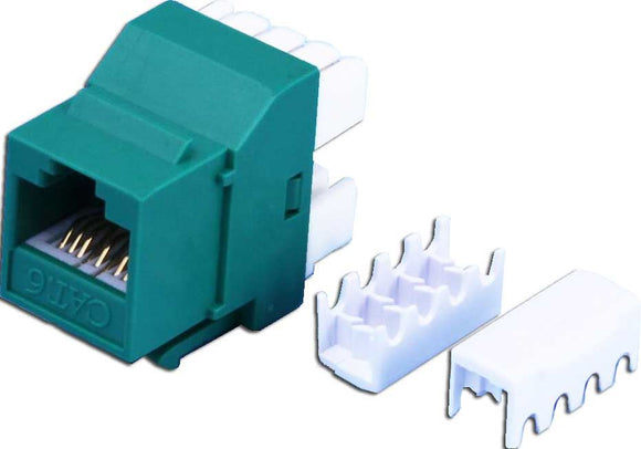 Picture of FP-C6-GREEN: DYNAMIX Cat6 GREEN Keystone RJ45 Jack for 110 Face Plate T568A/T568B Wiring. 180 Slimline Jack.