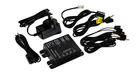 Picture of IR6000: DYNAMIX 4-2 Hidden IR Distribution System. Kit includes 1x IR Box with RJ45 Port, 1x 1M RJ45 IR Rec Emitter, 1x 2M IR Blaster, 1x AU Power Adapter