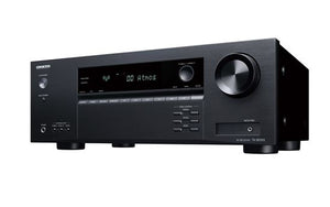 Picture of TXSR393B: ONKYO 5.2 Channel AV Receiver 155W P/CH at 6 ohm. DTS-X and Dolby Atmos playback. 4 HDMI inputs 1 HDMI out with ARC. Dimensions - (WxHxD) 435x 160x328 Weight - 8.2kg, Black