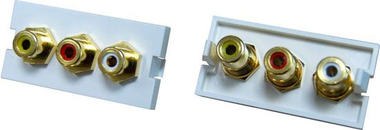 Picture of AVP-3RCA: DYNAMIX 3 RCA Composite Bezel for AVP-3UFP Plate. Yellow, Red & White . Gold Plated