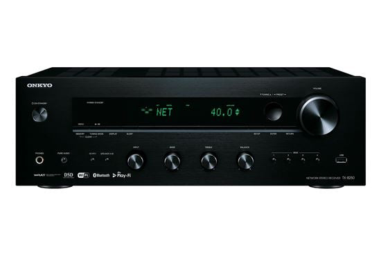 Picture of TX8250B: ONKYO Network Stereo Receiver. Chromcase built in. DTS Play-Fi Multiroom Audio. FlareConnect Wireless multi-room audio. Airplay built in streaming services. USB music + AM/FM. Colour Black.