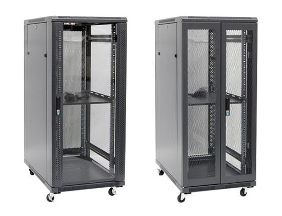 Picture of RSR27-6X10: DYNAMIX 27RU Server Cabinet 1000mm Deep (600 x 1000 x 1410mm) Incl. 1x Fixed Shelf, 4x Fans, 25x Cage Nuts, 4x Castors & 4x Level Feet. static load. Glass front door, mesh rear door. 6-Way PDU installed.