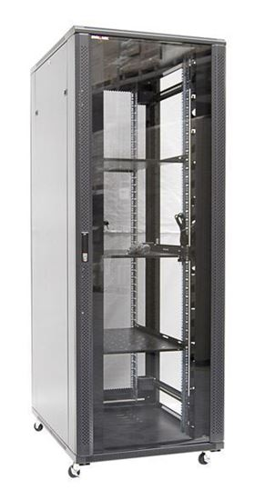 Picture of RSR27-6X8: DYNAMIX 27RU Server Cabinet 800mm Deep (600 x 800 x 1410mm) Incl. 1x Fixed Shelf, 4x Fans, 25x Cage Nuts, 4x Castors & 4x Level Feet. Gloss Colour, Tinted Glass Door, Removeable Sides, Bottom Wire Path