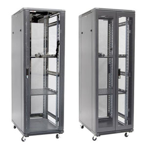 Picture of RSR37-6X10FP: DYNAMIX 37RU Server Cabinet 1000mm Deep (600 x 1000 x 1853mm). FLAT PACK. Incl. 2x Fixed Shelves, 4x Fans, 25x Cage Nuts, 4x Castors/ 800kg static load. Glass front door mesh rear door. PDU. BLK