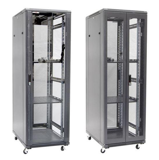 Picture of RSR37-6X6: DYNAMIX 37RU Server Cabinet 600mm Deep (600 x 600 x 1853mm). Incl. 2x Fixed Shelves, 4x Fans, 25x Cage Nuts, 4x Castors & 4x Level Feet. static load. Glass front door, mesh rear door. 6-Way PDU installed.
