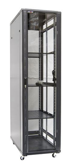 Picture of RSR45-6X10FP: DYNAMIX 45RU Server Cabinet 1000mm Deep (600 x 1000 x 2210mm). FLAT PACK. Incl. 3x Fixed Shelves, 4x Fans, 25x Cage Nuts, 4x Castors/ 800kg static load. Glass front door mesh rear door. PDU. BLK