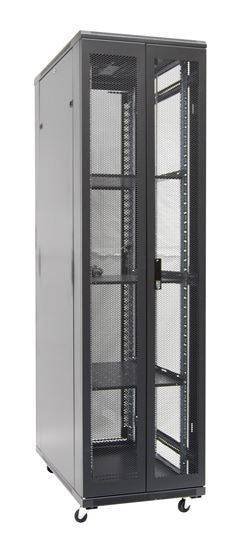 Picture of RSR45-6X8: DYNAMIX 45RU Server Cabinet 800mm Deep (600 x 800 x 2210mm). Incl. 3x Fixed Shelves, 4x Fans, 25x Cage Nuts, 4x Castors & 4x Level Feet. static load. Glass front door, mesh rear door. 6-Way PDU installed.