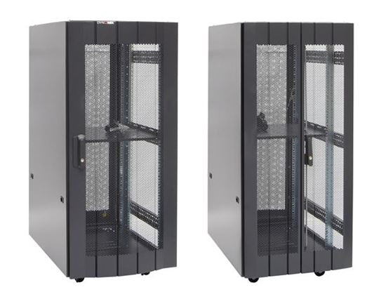 Picture of RST22-6X9: DYNAMIX 22RU Server Cabinet 900mm Deep (600 x 900 x 1281mm) Incl. 1x fixed shelves, 4x fans, 25x cage nuts, 4x castors, 4x levelling feet Single front and bifold rear mesh doors. 6-Way PDU installed. Black