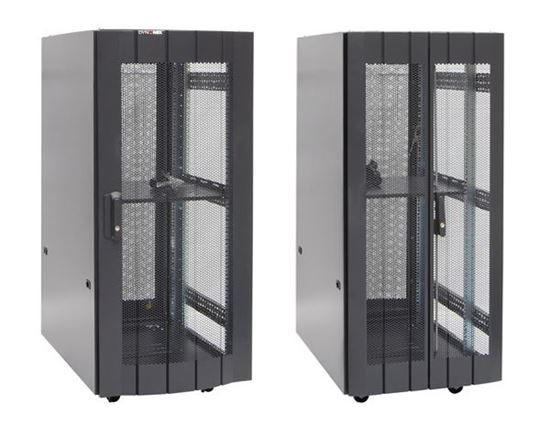 Picture of RST27-6X9: DYNAMIX 27RU Server Cabinet 900mm Deep (600 x 900 x 1381mm) Incl. 1x fixed shelves, 4x fans, 25x cage nuts, 4x castors, 4x levelling feet Single front and bifold rear mesh. 6-Way PDU installed. Gloss Black.