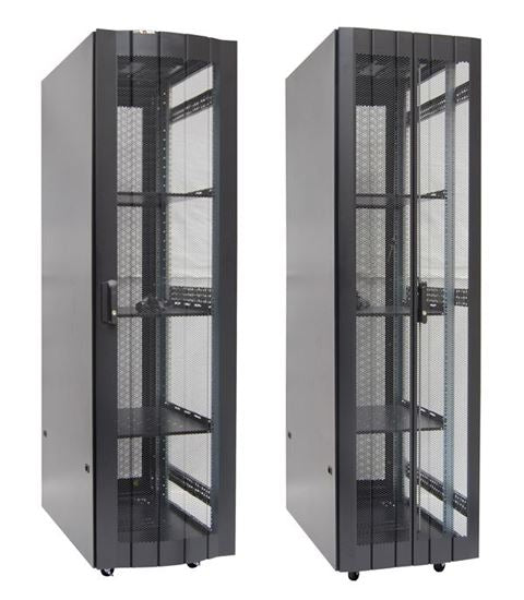 Picture of RST37-6X10FP: DYNAMIX 37RU Server Cabinet 1000mm Deep (600 x 1000 x 1881mm) FLAT PACK, 2x shelves, 4x fans, 25x cage nuts, 4x levelling feet/castors. Single front and bifold rear mesh doors. Includes 6-Way PDU. Black