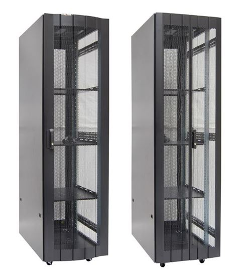 Picture of RST45-6X10: DYNAMIX 45RU Server Cabinet 1000mm deep (600 x 1000 x 2181mm) Incl. 3x fixed shelves, 4x fans, 25x cage nuts, 4x castors, 4x levelling feet Single front and bifold rear mesh 6-Way PDU installed. Gloss Black.
