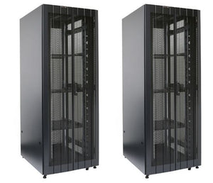 Picture of RST45-8X10FP: DYNAMIX 45RU Server Cabinet 1000mm Deep (800 x 1000 x 2181mm) FLAT PACK, 2x Front vertical management Panels. 3x Fixed Shelves, 4x Fans, , 4x Castors. Bifold front and rear. Includes 6-Way PDU. Black