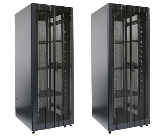 Picture of RST45-8X8: DYNAMIX 45RU Server Cabinet 800mm Deep (800 x 800 x 2181mm) Incl. 3x fixed shelves, 4x fans, 25x cage nuts, 4x castors, 4x levelling feet DUAL front & rear doors. 6-Way PDU Installed. Black colour.