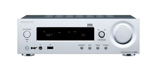 Picture of RN855S: ONKYO Stereo Network Receiver. Hi-Res audio via network or USB. Control music stored on connected HDD. VLSC reduces noise & reveals detail. Supports FlareConnect multi-room audio. Colour Silver