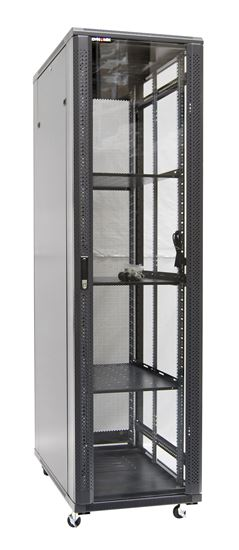 Picture of RSR45-6X12FP: DYNAMIX 45RU Server Cabinet 1200mm Deep (600x1200x2210mm) FLAT PACK. Includes 3x Fixed Shelves, 4x Fans, 5x Cage Nuts, 4x Castors & Level Feet. 800kg static load. Glass front door, mesh rear door. Black