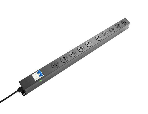 Picture of RPR-10VMCB: DYNAMIX 10 Outlet Vertical Power Rail (10A) with 6kA C-Curve MCB Circuit Breaker, on/off switch & 2m Power Cord with 10A 3 Pin Plug. Vertical Height 718mm. Colour Black