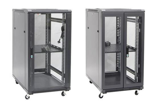 Picture of RSR22-6X9: DYNAMIX 22RU Server Cabinet 900mm Deep (600 x 900 x 1190mm). Incl. 1x Fixed Shelf, 4x Fans, 25x Cage Nuts, 4x Castors & 4x Level Feet. static load. Glass front door, mesh rear door. 6-Way PDU installed.