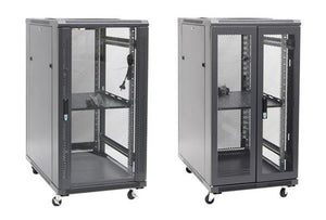 Picture of RSR22-6X10: DYNAMIX 22RU Server Cabinet 1000mm Deep (600 x 1000 x 1190mm). Incl. 1 x Fixed Shelf, 4x Fans, 25x Cage Nuts, 4x Castors & 4x Level Feet. static load. Glass front door, mesh rear door. 6-Way PDU Installed.