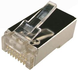 Picture of RJ-45-C6RSH-20: DYNAMIX Cat6 RJ45 20pc Bag, 8P8C Modular Plug 15U'' with insert. (Stranded-Shielded-Round)