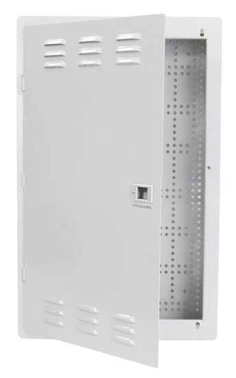 Picture of HWS-2004V2LP: DYNAMIX 20'' FTTH Low Profile Network Enclosure Recessed Wall Mount with Vented Lid Cable & Dual GPO Knock outs. Installs 400mm Centre Stud. Cut out dimensions: 355x525x70mm.