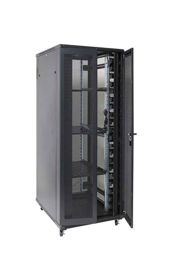 Picture of RSR42-8X10: DYNAMIX 42RU Server Cabinet 1000mm Deep (800 x 1000 x 2077mm). Incl. 3 x Fixed Shelves, 4x Fans, 25x Cage Nuts, 4x Castors & 4x Level Feet. front vertical cable management. Dual front & rear mesh doors. Black