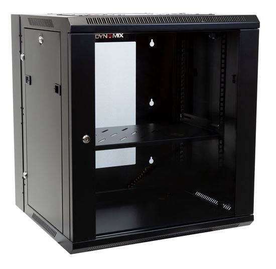 Picture of RSFDS12-600: DYNAMIX 12RU 600mm Deep Universal Swing Wall Mount Cabinet. Removable Backmount (600 x 600 x 635mm). Includes 2x fans, 1x fixed shelf, 10x cage nuts. 6-Way PDU Installed. Gloss black colour.