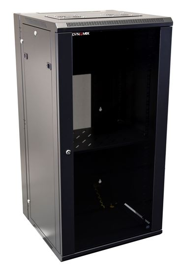 Picture of RSFDS24: DYNAMIX 24RU Universal Swing Wall Mount Cabinet. Removable Rackmount supplied with Left & Right Hinges (600 x 550 x 1167mm). Includes 1 x fixed shelf, 10 x cage nuts. 6-Way PDU installed. Gloss black.