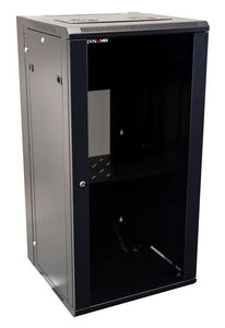 Picture of RSFDS24-600: DYNAMIX 24RU 600mm Deep Universal Swing Wall Mount Cabinet. Removable Backmount (600 x 600 x 1167mm). Includes 2x fans, 1x fixed shelf, 10x cage nuts. 6-Way PDU installed. Gloss black colour.