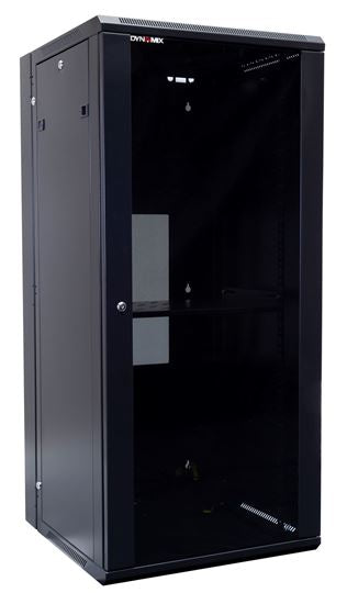 Picture of RSFDS27-600: DYNAMIX 27RU 600mm Deep Universal Swing Wall Mount Cabinet. Removable Backmount (600 x 600 x 1365mm). Includes 2x fans, 1x fixed shelf, 10x cage nuts. 6-Way PDU installed. Gloss black colour.