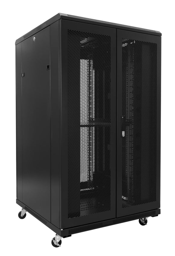 Picture of RSR22-8X10: DYNAMIX 22RU Server Cabinet 1000mm Deep (800 x 1000 x 1190mm). Incl. 1x Fixed Shelf, 4x Fans, 25x Cage Nuts, 4x Castors & 4x Level Feet. front vertical cable management. Dual front & rear mesh doors. Black