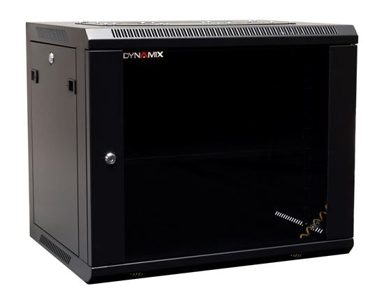 Picture of RWM9: DYNAMIX 9RU Wall Mount Cabinet 450mm Deep (600 x 450 x 501mm). Includes 1x Fixed Shelf, 2x Fans & 10x Cage Nuts. Black Gloss Colour, front door.